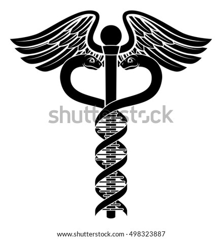Caduceus Medical Symbol Two Snakes Becoming Stock Vector Royalty