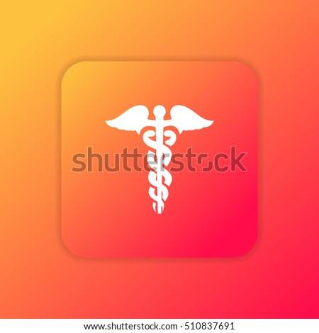 Caduceus orange bright app ui/ux Icon / Logo design