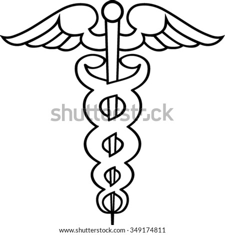 Caduceus outline isolated illustration - stock vector