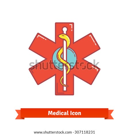Caduceus snake on a stick symbol on emergency star emblem. Modern flat style thin line icon isolated on white. - stock vector