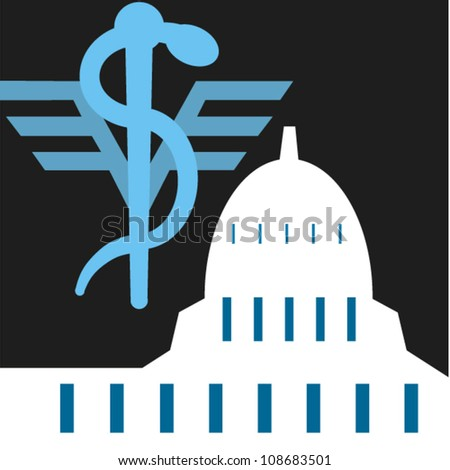 Caduceus symbol and the capitol in Washington, D.C.