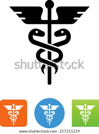 Caduceus symbol for download. Vector icons for video, mobile apps, Web sites and print projects. - stock vector