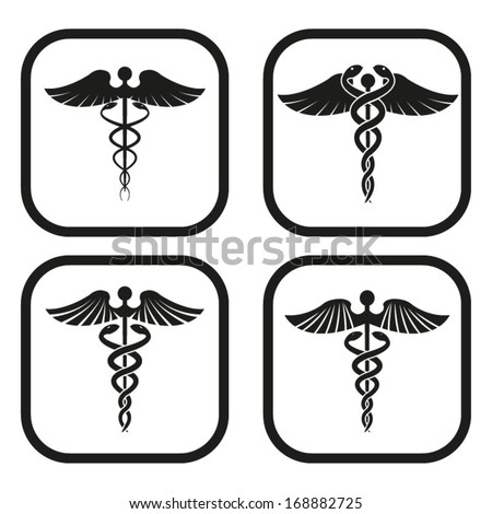 Caduceus symbol - four variations - stock vector