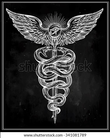 Caduceus symbol of god Mercury. Highly detailed hand ...