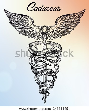 Caduceus symbol of god Mercury. Highly detailed hand ...