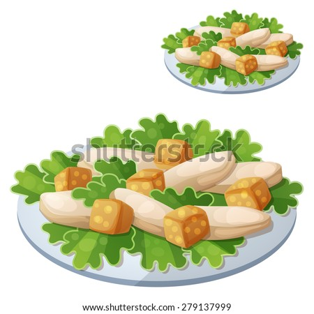 Caesar salad. Detailed vector icon isolated on white background. Series of food and drink and ingredients for cooking. - stock vector