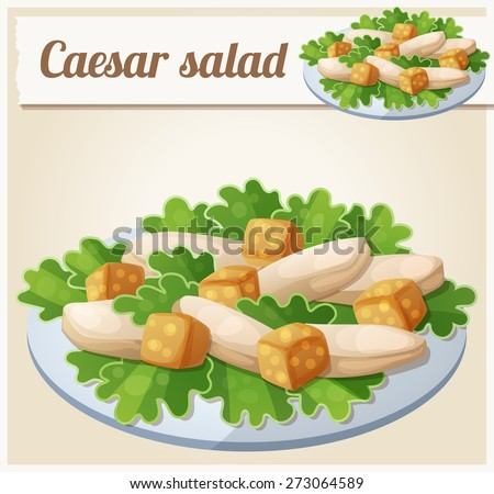 Caesar salad. Detailed Vector Icon. Series of food and drink and ingredients for cooking. - stock vector