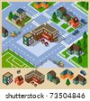 Cafe and Neighborhood Isometric. Set of very detailed isometric vector - stock vector