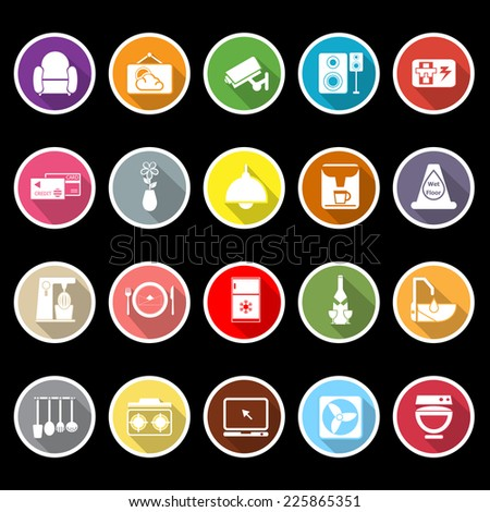 Cafe and restaurant flat icons with long shadow, stock vector - stock vector
