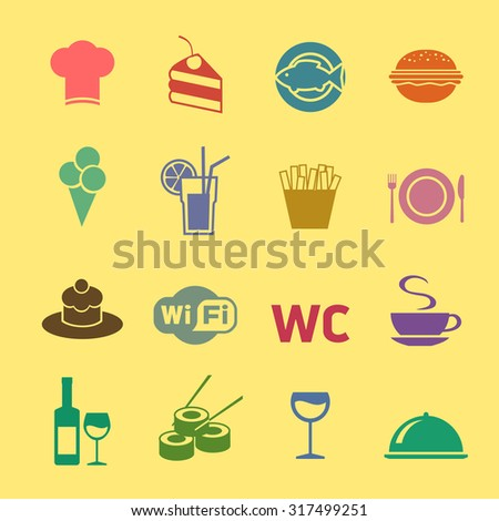Cafe and restaurant icons set. Flat design.