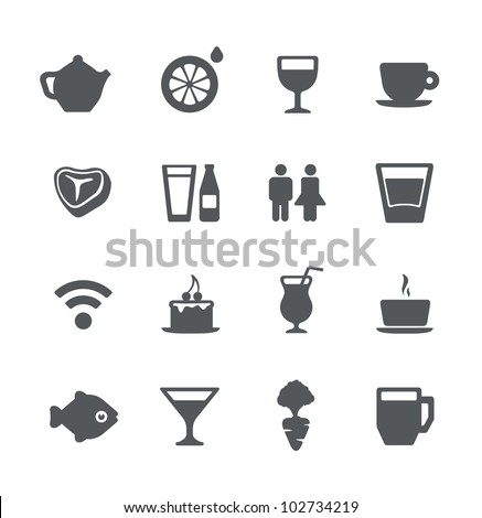 Cafe and restaurant simple minimalistic icons set - stock vector