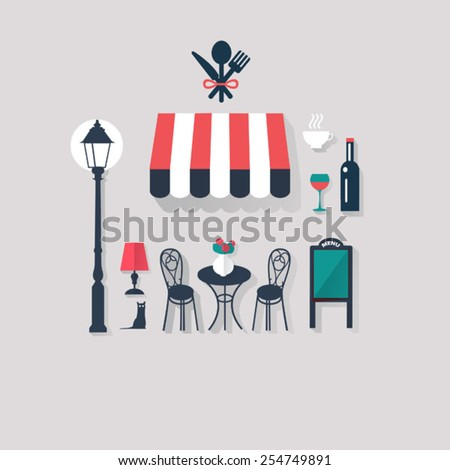 cafe background Paris tourist concept image. Flat vector french  - stock vector