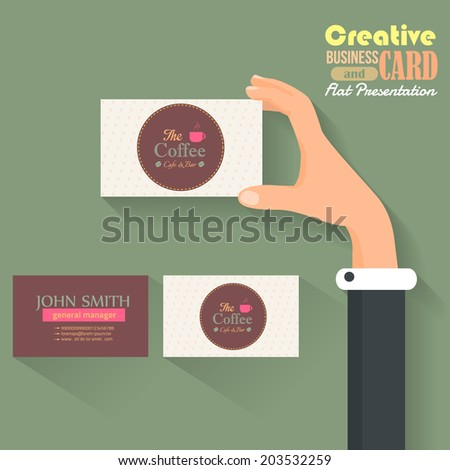 Cafe Business Card Template and Flat Presentation Vector Template