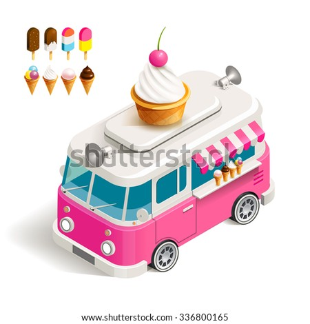Cafe car Ice cream on wheels. Stock vector color isometric illustration Van with ice cream - stock vector