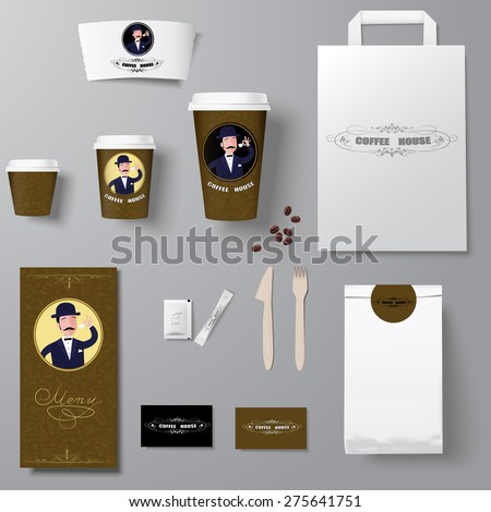 Cafe corporate identity template design set  with retro element - stock vector