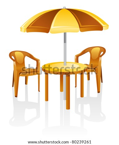 Cafe Garden Furniture Table Chair Parasol Isolated On A White Background