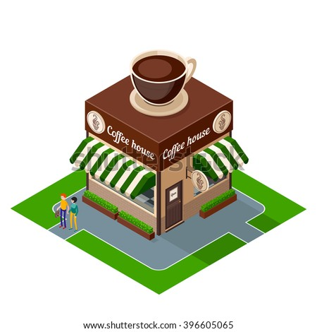 Cafe icon. Isometric icon building coffee shop isolated on white background. 3d icons of building cafe. Isometric exterior building coffee shop with people. Vector illustration. - stock vector