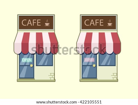 Cafe icon vector. Cafe open closed. Vector cafe. Cafe sign. Open cafe. Closed Cafe. Retro cafe. Stock illustration - stock vector