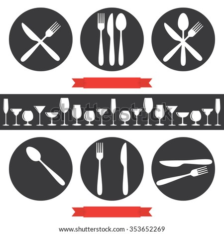 Cafe Icons Cutlery And Glasses
