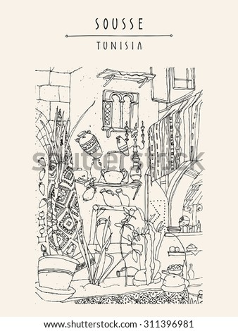 Cafe in Sousse, Tunisia, Northern Africa. Interior in ethnic style. Travel sketchy touristic poster, postcard, coloring book page or calendar template with hand lettering - stock vector