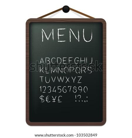 Cafe menu board with chalk alphabet. Vector illustration. - stock vector