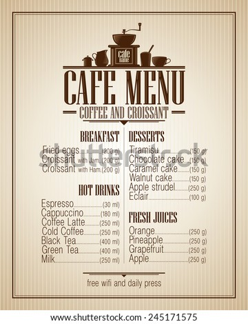 Cafe menu list with dishes name, retro style design. - stock vector
