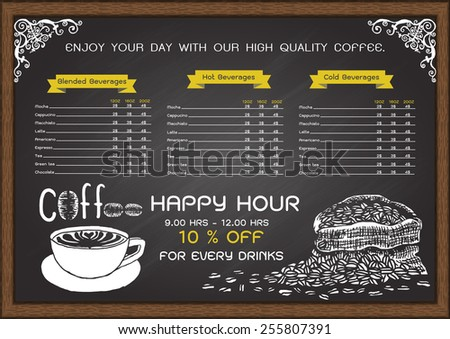 Cafe menu on chalkboard design template with hand drawn a cup of hot coffee and a bag of coffee beans. - stock vector