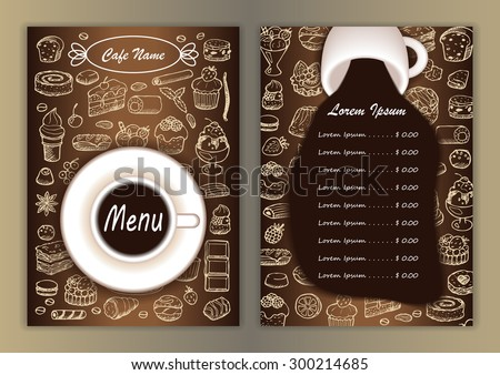 Cafe menu with hand drawn doodle elements and cup of coffee. Vector illustration for menu, posters, prints, banners, web design, covers - stock vector