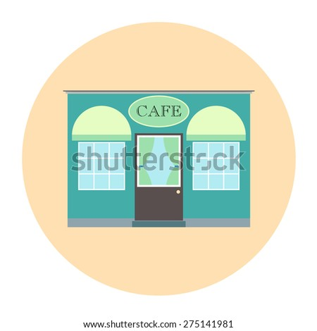 Cafe or restaurant vector illustration. Flat building for food, coffee business. Architecture facade for urban European town street, cityscape. House in green, blue, yellow colors. - stock vector