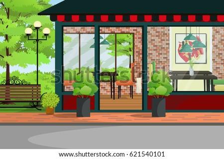 Cafe, Restaurant, Coffee Shop Building With Green Garden.Restaurant  Interior And Exterior Design