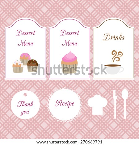 Cafe set on seamless background. Dessert and drink menu, thank you label, chef hat and spoon, fork. - stock vector