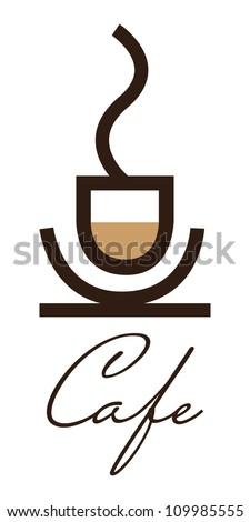 Cafe sign, coffee cup - stock vector