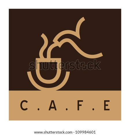 Cafe sign, coffee cup with coffee pot - stock vector
