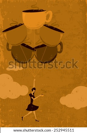 Caffeine High A woman floating in the air from a caffeine high. The woman and coffee cup balloons are on a separate labeled layer from the background. - stock vector