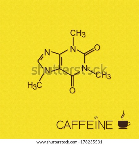 Caffeine molecule and cup of coffee over burlap texture - stock vector