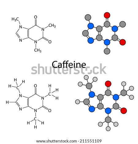 Caffeine molecule - structural chemical formulas and models, skeletal & circles and sticks styles, 2d illustration, isolated on white background, vector, eps8 - stock vector