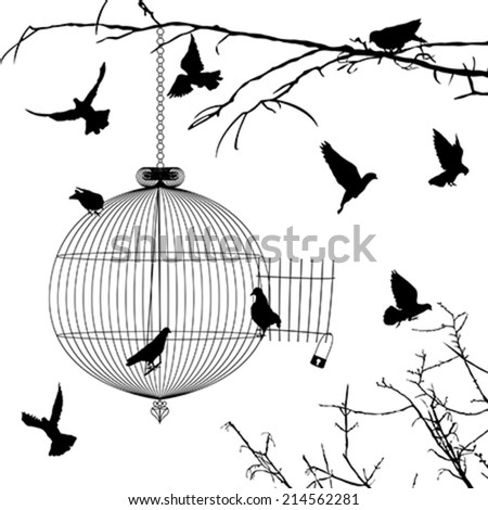 Cage and birds silhouettes over white background - stock vector