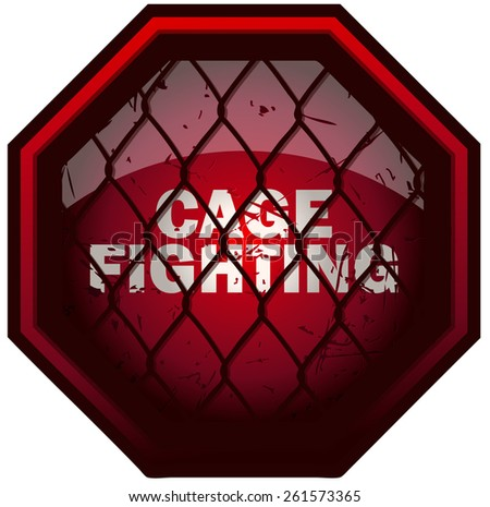 Cage Fighting Octagon Sign, Vector Illustration isolated on White Background.  - stock vector