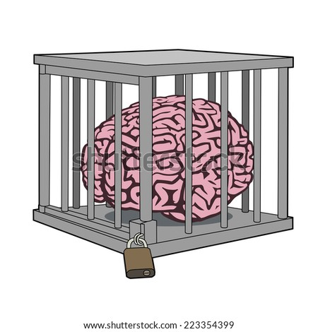 Caged mind - stock vector