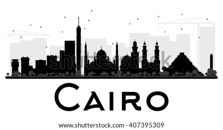 Cairo City skyline black and white silhouette. Vector illustration. Simple flat concept for tourism presentation, banner, placard or web site. Business travel concept. Cityscape with landmarks