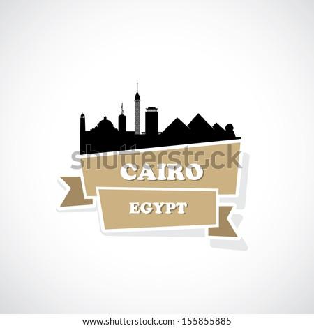 Cairo ribbon banner - vector illustration - stock vector