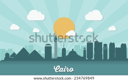 Cairo skyline - flat design - vector illustration - stock vector