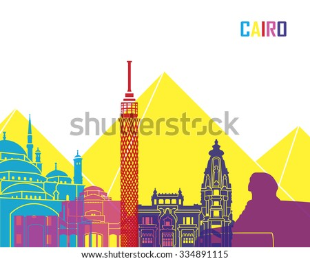 Cairo skyline pop in editable vector file - stock vector