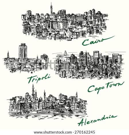Cairo, Tripoli, Cape Town, Alexandria - stock vector