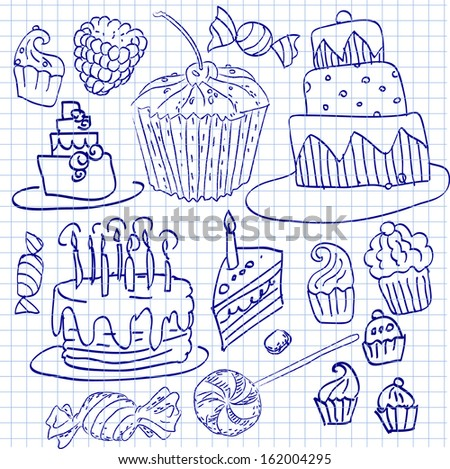 Cake and cupcake doodle sketchy vector illustration,  hand drawn icon, set of set