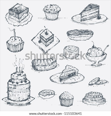 Cake and Pastries Doodle Vector Set
