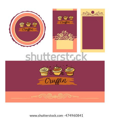 Cake and sweet shop logo. Royal cruffin dessert. Element of design for corporate identity, banner, business card, poster with freehand drawn vector cruffin logo.