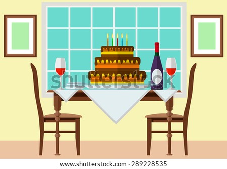 Cake and wine on festive table. Eps10 vector illustration