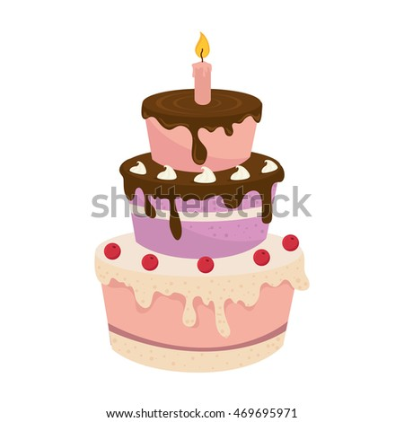 cake birthday candle celebration food dessert cream vector illustration isolated