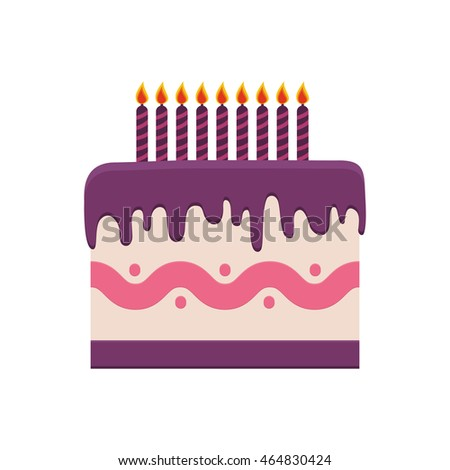Cake Candle Party Cream Bakery Birthday Stock Vector 464830424